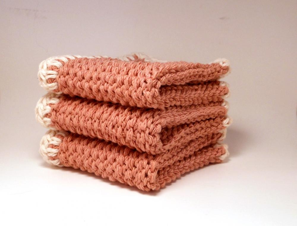 Dish Cloths 100% Cotton Crocheted Beige and White